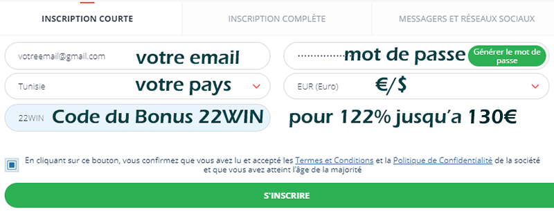 22bet inscription et code promo tunisie