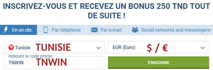 code bonus 1xbet tunisie